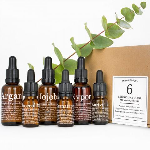 Oljekit ekologiska oljor för hudvård, 6st - organicmakerse.se