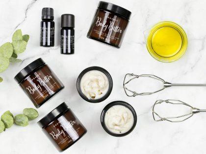 DIY kallvispat Body Butter med sheasmör och ekologiska oljor.