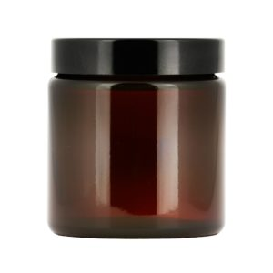 Brun glasburk 120 ml med lock