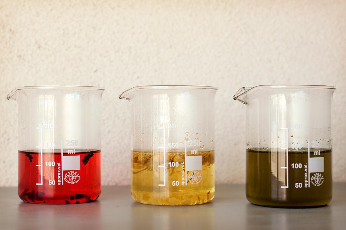 infusioner; hibiskus, kamomill och nässla