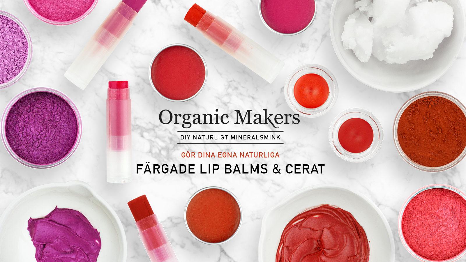 Lip balms och cerat färgade med mica och oxidpigment