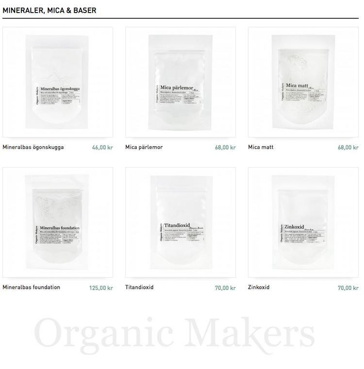 DIY mineralsmink - mica, mineraler och mineralbaser - organicmakers.se