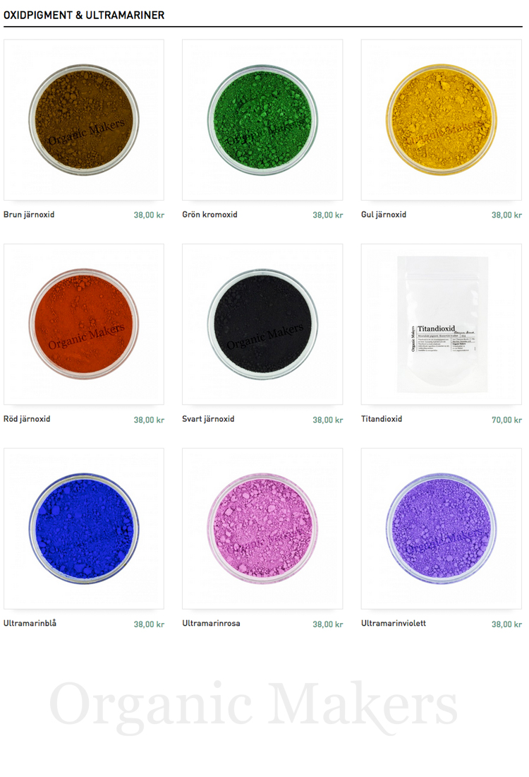 DIY mineralsmink - oxidpigment & ultramariner - organicmakers.se