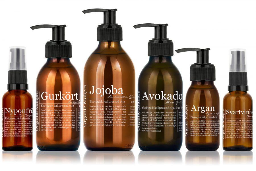 Ekologiska kallpressade oljor för hudvård