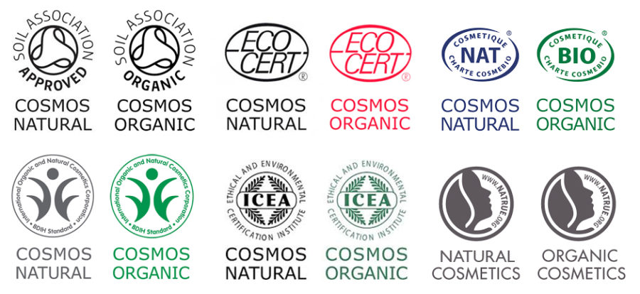 symboler med ekocertifieringar under cosmos och natruestandarden