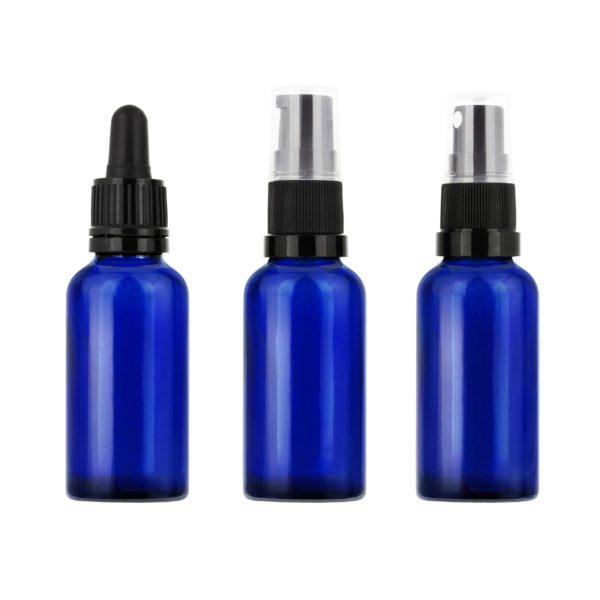 Blå glasflaska 30 ml med kork, pipett, pump eller spray