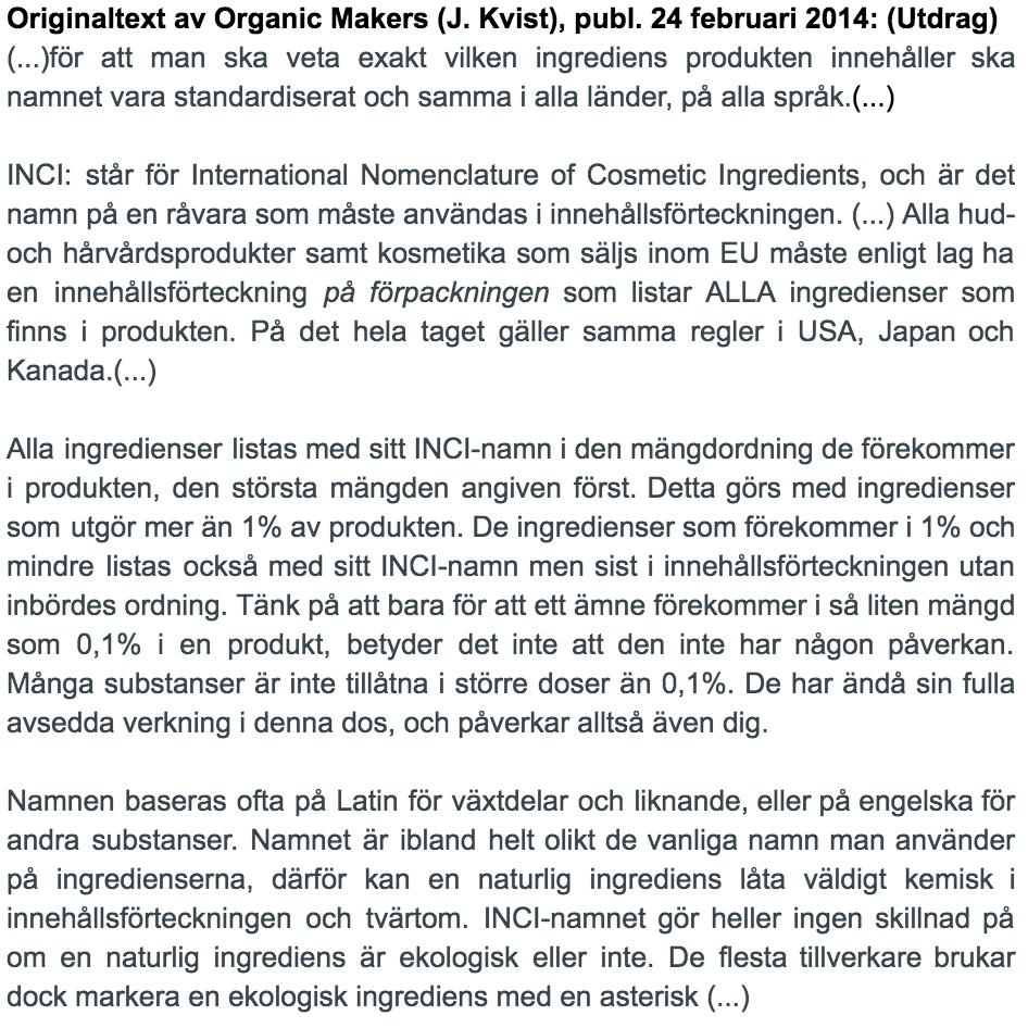 Inci - innehållsförteckning på hudvårdsprodukter - original av Organic Makers ©2014