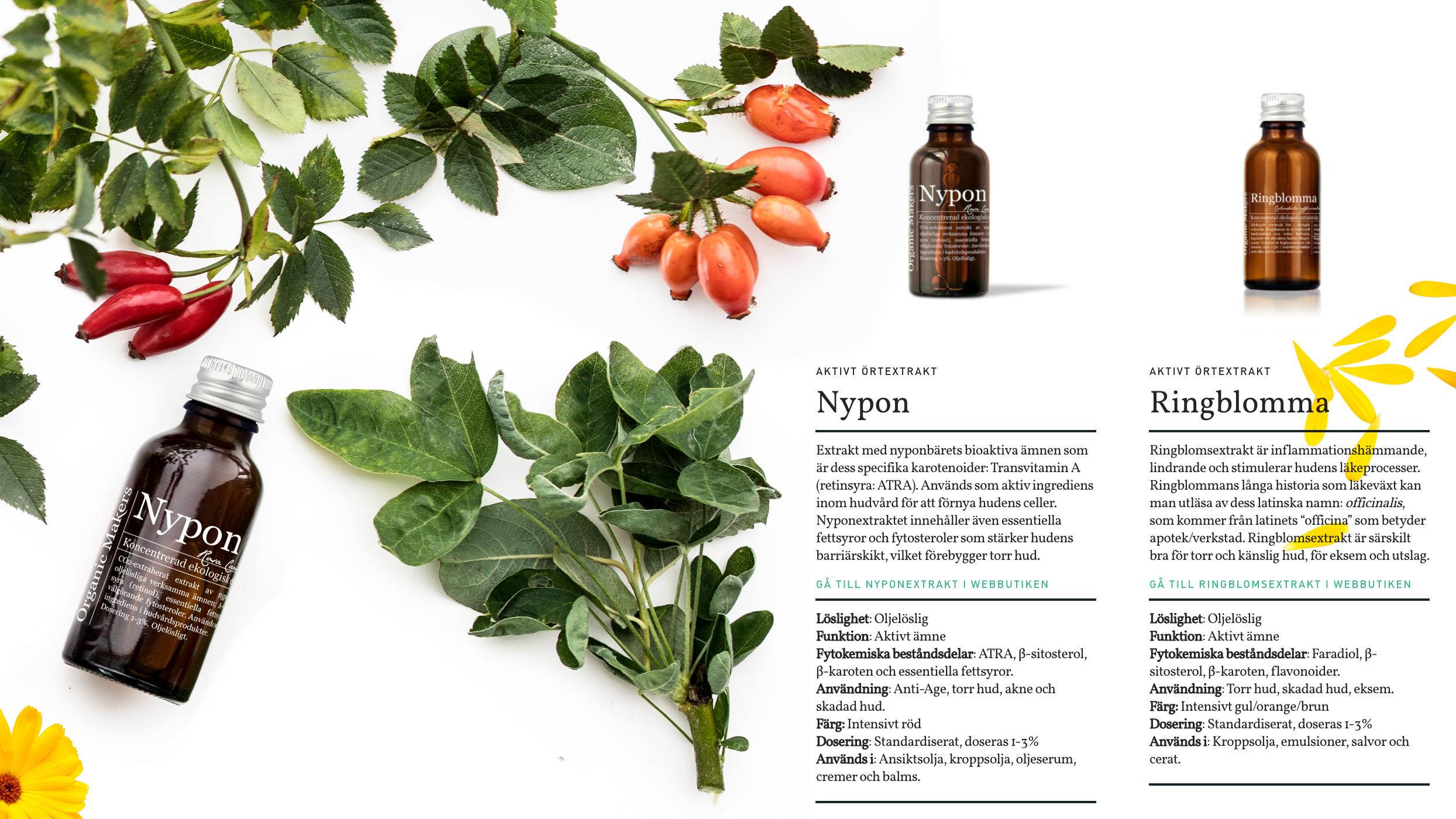 Botaniska örtextrakt i hudvård -organicmakers.se