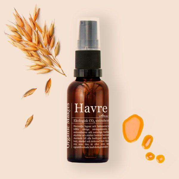 Havreolja oat oil ekologisk för hudvård - organicmakers.se
